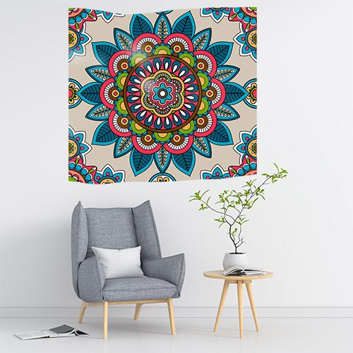 Duvar Örtüsü Mandala Renkli Desen Figürü